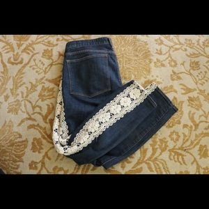 J. Crew Stretch Toothpick Lace Redesigned Jeans !